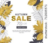 autumn sale banner with 3d... | Shutterstock .eps vector #712035571