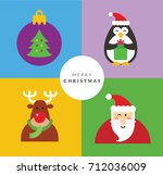 christmas card set i  | Shutterstock .eps vector #712036009