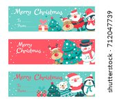 set of christmas greeting cards ... | Shutterstock .eps vector #712047739