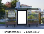 mock up of light box on the bus ... | Shutterstock . vector #712066819