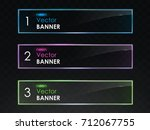 glossy banners with neon light... | Shutterstock .eps vector #712067755