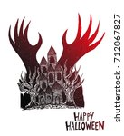 haunted house with devil hand...   Shutterstock .eps vector #712067827