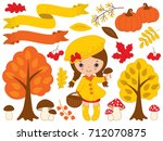 vector autumn set includes cute ... | Shutterstock .eps vector #712070875