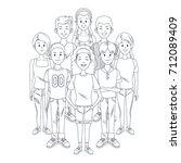 young friends cartoon | Shutterstock .eps vector #712089409