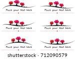 vector set  trees calligraphic... | Shutterstock .eps vector #712090579