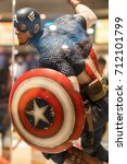Small photo of KUALA LUMPUR, MALAYSIA - AUGUST 29, 2017: Replica of Captain America from Avengers movie in Kuala Lumpur Malaysia. Captain America is a fictional superhero in comic books published by Marvel Comics