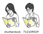 young woman and man holding and ... | Shutterstock .eps vector #712109029
