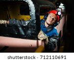 the young miner. diesel... | Shutterstock . vector #712110691