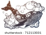 a drawn whale with solar system ... | Shutterstock .eps vector #712113031