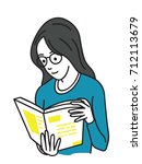 young woman holding and reading ... | Shutterstock .eps vector #712113679
