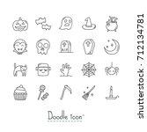 doodle halloween icon set. hand ... | Shutterstock .eps vector #712134781