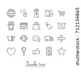 doodle e commerce icons. hand... | Shutterstock .eps vector #712134865