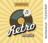 retro music. vector poster in... | Shutterstock .eps vector #712141969
