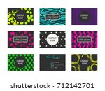 set of business cards with hand ... | Shutterstock .eps vector #712142701