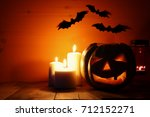 Halloween Pumpkin On Wooden...