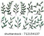 set of doodle tree branch... | Shutterstock .eps vector #712154137