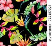 tropical hawaii leaves pattern... | Shutterstock . vector #712157029