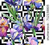 wildflower iris flower pattern... | Shutterstock . vector #712158805
