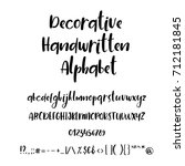 handwritten alphabet and... | Shutterstock .eps vector #712181845