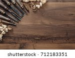 old carpentry tools on a...