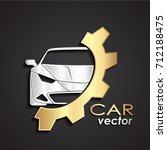 3d silver car golden gear logo   Shutterstock .eps vector #712188475