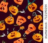 halloween pumpkins. happy... | Shutterstock .eps vector #712190254