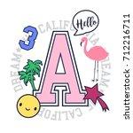 vector print and varsity badge. ... | Shutterstock .eps vector #712216711