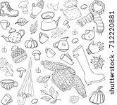 set of hand drawn autumn vector ... | Shutterstock .eps vector #712220881