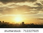aerial view of dramatic sunset... | Shutterstock . vector #712227025