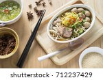 egg noodle soup with pork ball  ... | Shutterstock . vector #712237429