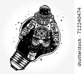 astronaut in a light bulb... | Shutterstock .eps vector #712240474