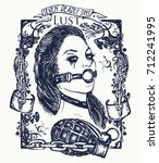 lust. seven deadly sins tattoo... | Shutterstock .eps vector #712241995