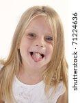 little blonde girl making a... | Shutterstock . vector #71224636