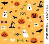 halloween postcard | Shutterstock .eps vector #712249411