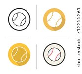 baseball ball icon. flat design ... | Shutterstock . vector #712255261