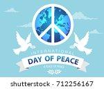 world peace day white dove bird ...   Shutterstock .eps vector #712256167