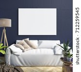 mock up poster in interior with ... | Shutterstock . vector #712259545