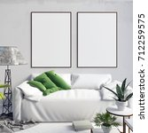 mock up poster in interior with ... | Shutterstock . vector #712259575