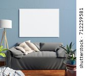 mock up poster in interior with ... | Shutterstock . vector #712259581