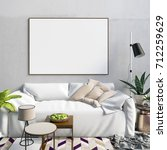 mock up poster in interior with ... | Shutterstock . vector #712259629