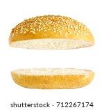 burger bun isolated on white...   Shutterstock . vector #712267174