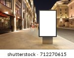 blank street billboard at night ... | Shutterstock . vector #712270615