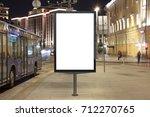 blank street billboard at night ... | Shutterstock . vector #712270765