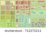 vector set. green farm.  top... | Shutterstock .eps vector #712272211