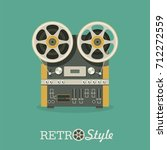 vintage reel to reel tape... | Shutterstock .eps vector #712272559