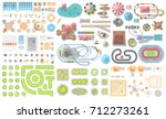 set of landscape elements.... | Shutterstock .eps vector #712273261