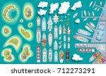 vector set. summer vacation.... | Shutterstock .eps vector #712273291