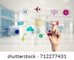hand of businesswoman touch... | Shutterstock . vector #712277431