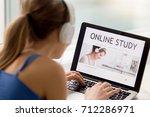 online study concept  woman in...   Shutterstock . vector #712286971