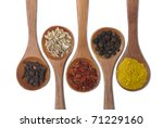 Various Of Spices In Wooden...